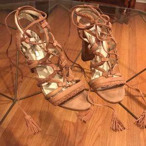 Full foot Lace up chunk heels